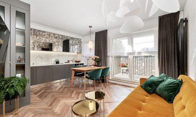salon z kuchnią, małe mieszkanie, jak optycznie powiększyć mieszkanie